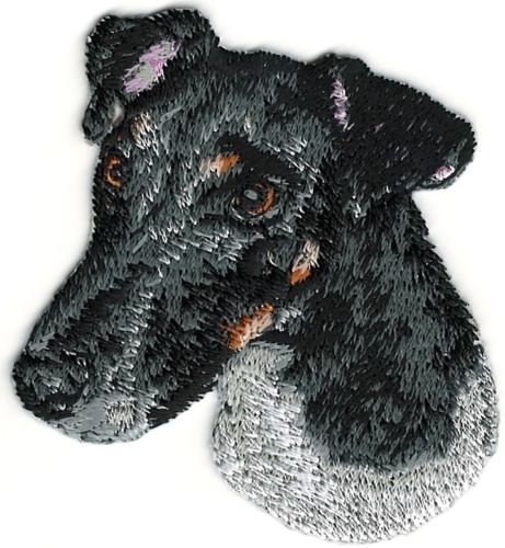 Embroidered patch- Patches for Women Man- Cool patches- Smooth Black White Fox Terrier Portrait Dog Breed Embroidery (Smooth Fox Terrier Embroidery)