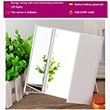 Tri Fold Mirror with Lights Tri Folding Lighted Vanity Mirror for Make Up Portable Travel Cosmetic Mirror-By MEET Y (White)