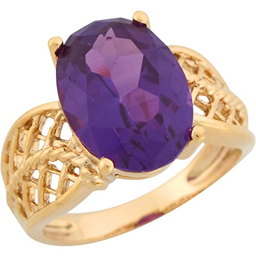 10k Yellow Gold Oval Amethyst Filigree Thick Band Classy Ladies Birthstone Ring