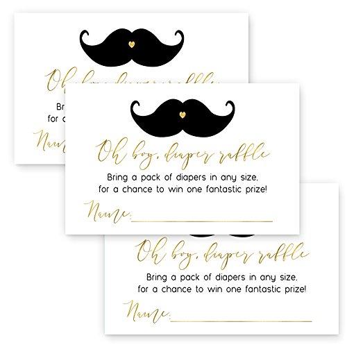 Mustache Diaper Raffle Insert Cards (25 Pack) Black