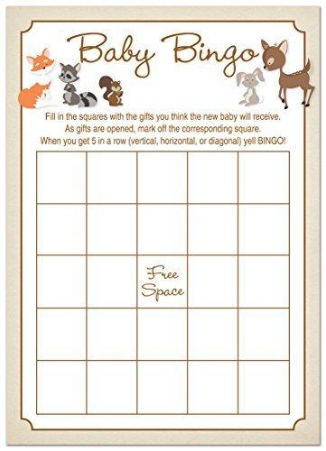 24 Cnt Woodland Animals Baby Shower Bingo Cards