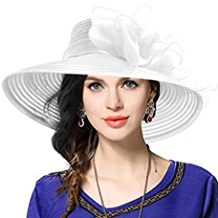 Whoever is on top of the winners board, you will be the focus of all attention in this charming organza derby hat. Its wide brim with a shimmering organza. that is the perfect accessory for any of those outdoor formal events those seasons ush...