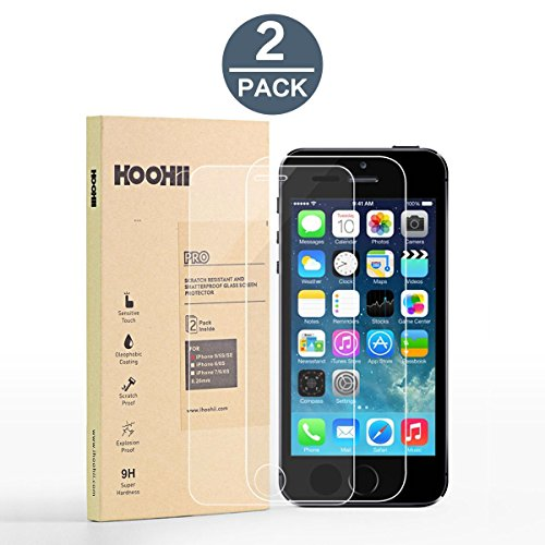 HOOHII Screen Protector Glass for iPhone 5/5C/5S/SE,Tech Armor Tempered Glass (0.26mm),9H Hardness Bubble Free, Anti-Fingerprint, Oil Stain(2 Pack) (Best Thing For Uti)