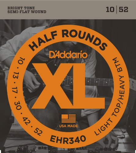 D'Addario EHR340 Half Round Electric Guitar Strings, Light Top/Heavy Bottom, 10-52