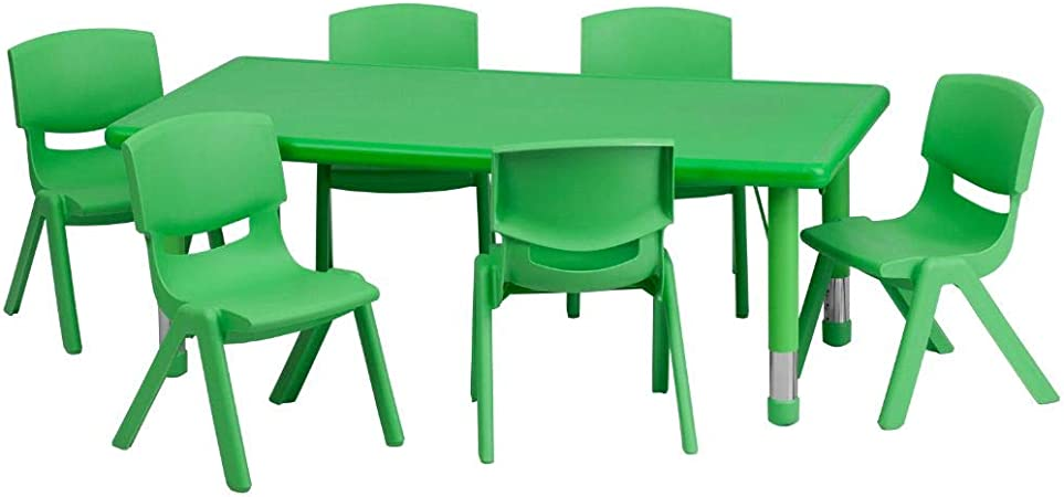 Flash Furniture 24 W X 48 L Rectangular Green Plastic Height Adjustable Activity Table Set With 6 Chairs Furniture Decor Amazon Com