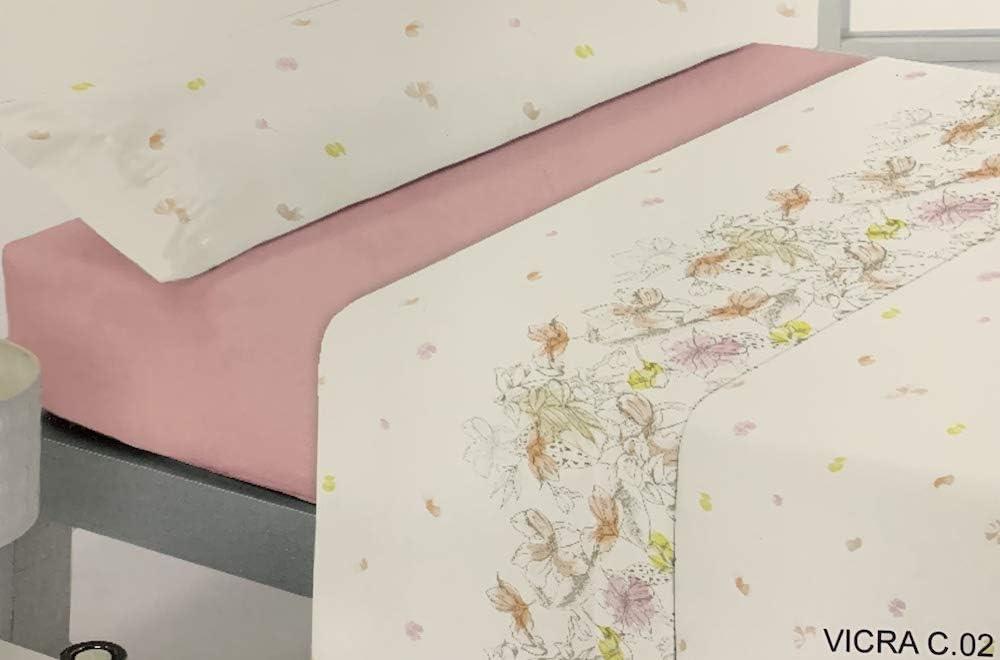 Reig Marti Juego DE SÁBANAS Estampado 4/Piezas Modelo: VICRA, Color: 02 Rosa, Medida: Cama DE 150x190/200cm.