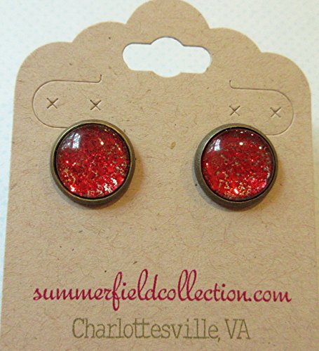 [Antiqued Gold-tone Red Glitter Glass Stud Earrings Hand-painted 12mm] (Simple Cheer Dance Costumes)
