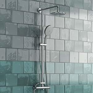 SK002 - Juego de ducha efecto lluvia (7,6 cm) y barra, cromado