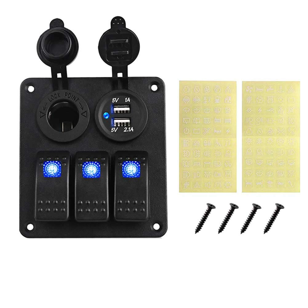 Blue CT-CARID Boat RV 3 Gang LED Rocker Switch Panel Waterproof Dual USB Circuit Breaker Charger Port Power Pocket Adapter for Marine Car