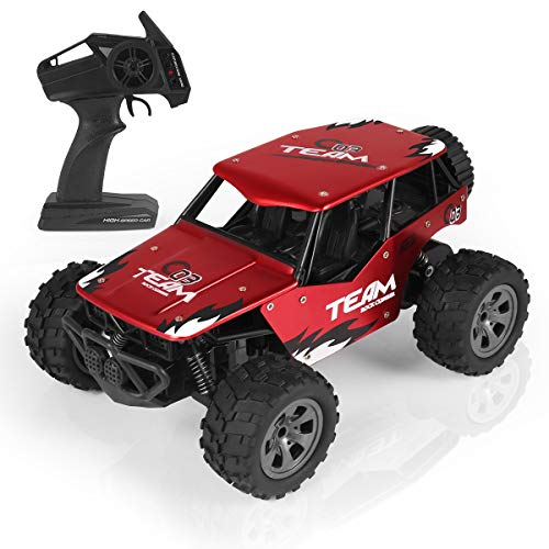 RC Car, Remote Control Car Electric Racing Car Off Road, All Terrain High-Speed 1:18 Desert Buggy Vehicle 2.4GHz 2WD Monster Truck Hobby Rock Electric Buggy Crawler Best Toy Car for Kids & Adults -Red