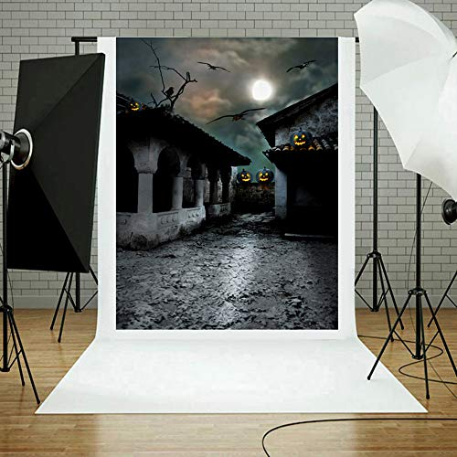 MOKO-PP Halloween Backdrops Pumpkin Vinyl 3x5FT Lantern Background Photography Studio E(E)