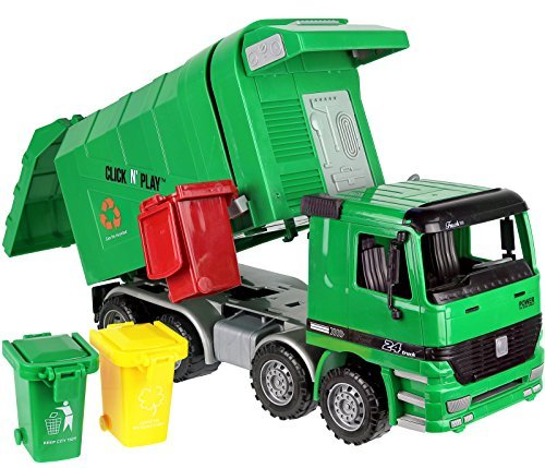 Click n' Play Friction Powered Garbage Truck Toy with Garbage Cans ()