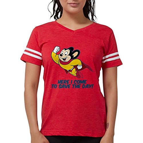 CafePress - Mighty Mouse Here I Come T-Shirt - Womens Football Shirt Red