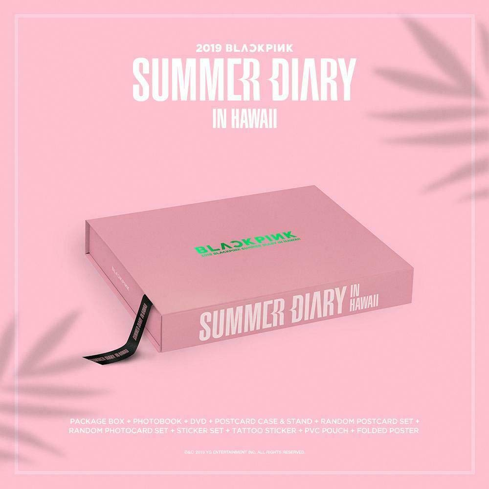 2019 BLACKPINK'S SUMMER DIARY IN HAWAII DVD+Book+Card Case+Card Stand+Photo Card Set+Sticker+Tattoo+PVC Pouch+1ea Double-sided Folded Poster+S.GIFT+TRACKING CODE