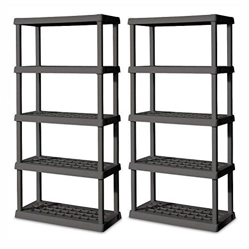 Sterilite Heavy-Duty 5-Shelf Ventilated Shelving Unit, Gray (2 Pack) | 0155V01 (Ventilated Shelf Storage)