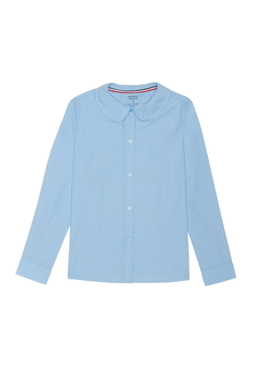 French Toast Big Girls' Long Sleeve Modern Peter Pan Collar Blouse, Light Blue, 18