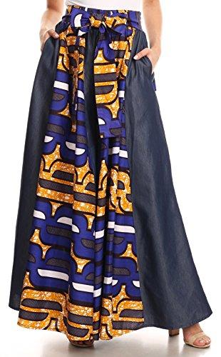 Con Ankara Anisa bluemulti Pantaloni Sakkas Wax Vita A African Elastica Gamba Olandesi 19 Print Larga Swv4q