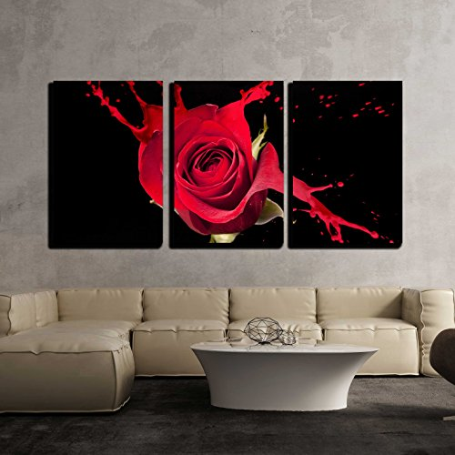 wall26 - 3 Piece Canvas Wall Art - Red Rose with Red Splashes on Black Background - Modern Home Decor Stretched and Framed Ready to Hang - 24