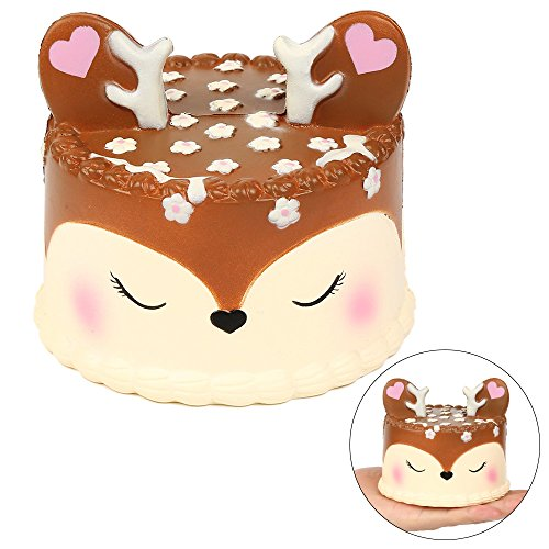EocuSun Jumbo Squishy, Scented Squishies Slow Rising, Kawaii Cute Unicorn Mousse Cream Kids Toys Doll Stress Relief Toy Hop Props, Decorative Props Large Deer Brown