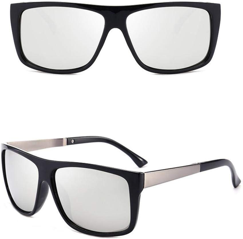 BAOLH Occhiali da Sole, Leggero retrò Polarizzato Uomini Anti-affaticamento Affari Guida Occhiali da Sole Vintage Modis Quadrato Occhiali Argento Marrone