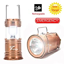 Camping Lantern, Trymie 3 in 1 Portable Solar Rechargeable LED Tent Lantern Lamp Built-in Rechargeable battery Collapsible Handheld Flashlights with USB Power Bank for Fishing, Emergency, Hiking, Indoor or Outdoor (Gold)