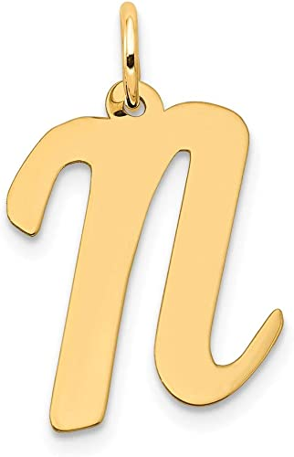14K Yellow Gold Large Script Initial Letter N Charm
