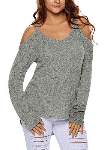 Minetom Femme Sexy Pull Epaule Nue Tunique Casual Manche Longue Encolure Pull Sweater Chemisier Shirt Tops Sweatshirt Gris