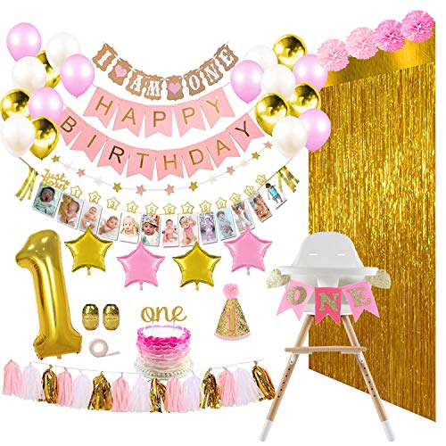 ReignDrop 1st Birthday Girl Decorations and Party Supplies 133 Pcs - First Birthday Banners for Highchair, Balloons, 12 Months Milestones, Garlands, Cake Topper, Pom Poms, Party Hat, Backdrops, Pink, Pearl White, Gold Decor Pack (Best Place For 1st Birthday Party)