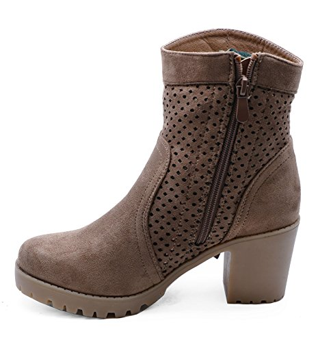 HeelzSoHigh Damen Braun Grob Gestrickt Reißverschluss Knöchel Biker Wade Plateau Fransen Stiefel Schuhe Größen 3-8