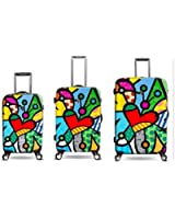 """Heys Romero Britto Butterfly Love 3pc Set (22""""-carry-on, 26"""" 30"""")"""