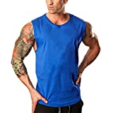 MODOQO Men's Tank Tops Sleeveless Bodybuilding Fitness Solid T-Shirt Gym Sports Tee (Blue,CN-M/US-XS)