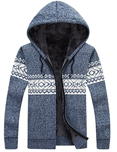 Lentta Men's Casual Slim Fit Full Zip Up Sherpa Lined Hooded Cardigan Sweaters (Small, Blue)