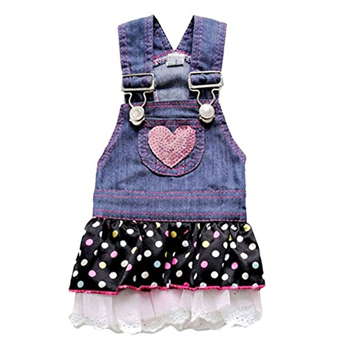 Soly Tech Puppy Cat Dog Polk Dot Dress Pet Strap Denim Skirt Summer Pet Dog Clothes XS-XL