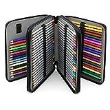 BTSKY® Deluxe PU Leather Pencil Case For Colored Pencils - 120 Slot Pencil Holder (Black)