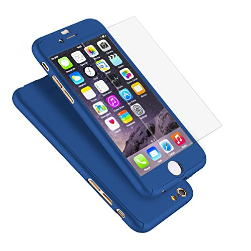 iPhone 6 Plus Case, Coocolor Ultra Thin Full Body Coverage Protection Hard Slim iPhone 6 Plus Case with Tempered Glass Screen Protector for Apple iPhone 6 Plus 5.5 (Blue)