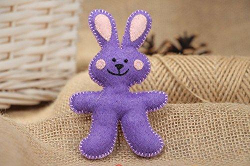 Small Handmade Flat Soft Toy Sewn Of Violet Felt Rabbit For Interior Decoration