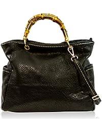 Plinio Visona Women's Large Handbag Italian Designer Tote Purse Genuine Leather Top Handle Satchel Crossbody Bag in Onyx Black Design with Bamboo Handles and Side Pockets