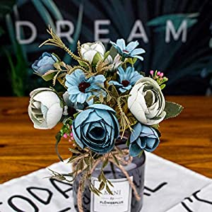 HOMZE Artificial & Dried Flowers Fake Tea Rose Silk Flower Fall Gerbera Daisy Artificial Plastic Flower for Wedding Home Accessories Decoration Room Decor Blue 15