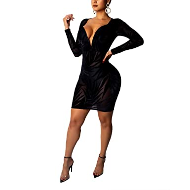 Nhicdns Women s Black Sexy Long Sleeve Deep V Neck Back Hollow Out Sheer  See Through Bodycon 901cd0c7a