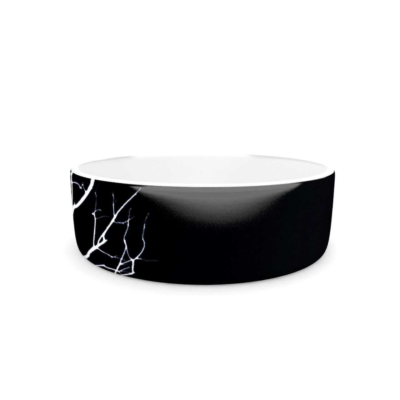 Kess InHouse Skye Zambrana Winter Black Pet Bowl, 7-Inch