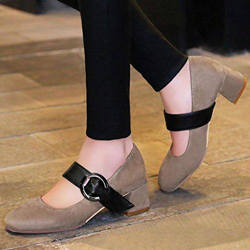 COOLCEPT Zapato Mujer Comodo Tacon Ancho medio Court Zapatos Mary Jane Zapatos Camel