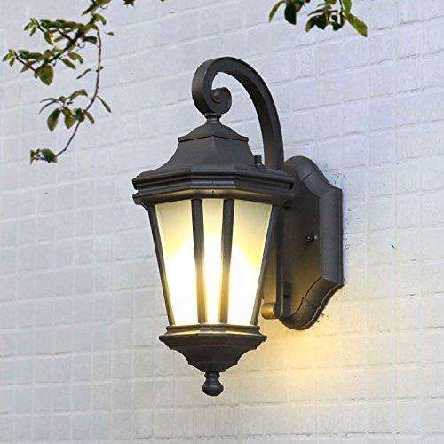 Large Outdoor Sconce - CGJDZMD Outdoor Waterproof Rust Creative Octagonal Metal Aluminum Wall Sconce Light/Lamp European Patio Courtyard Exterior Wall-Mounted Lighting Fixture with Glass Shade (E27 1-Light) (Size : L)