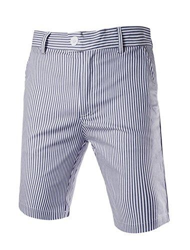 uxcell Men Vertical Stripes Slant Pockets Front Chino Shorts Navy Blue -