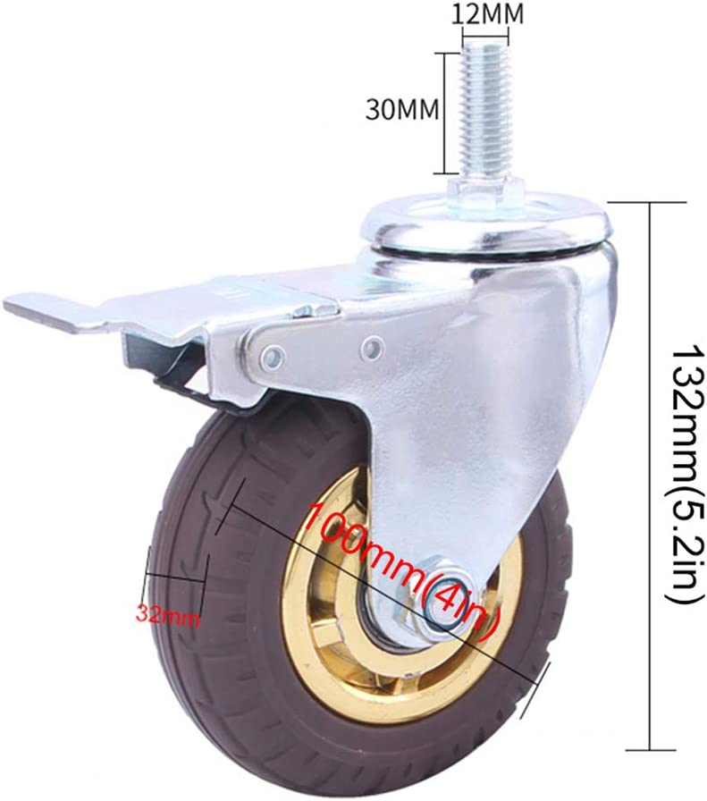 YYQ SHOP 4/× Swivel Caster M12 Threaded Stem Mount Heavy Duty Industrial Castors with Safety Dual Locking 520 kg Rubber Caster Wheels