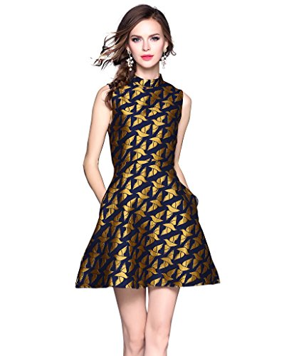 Women's Sleeveless Gold Bird Jacquard Cocktail Formal Office Mini Dress - Gold 70s Dress