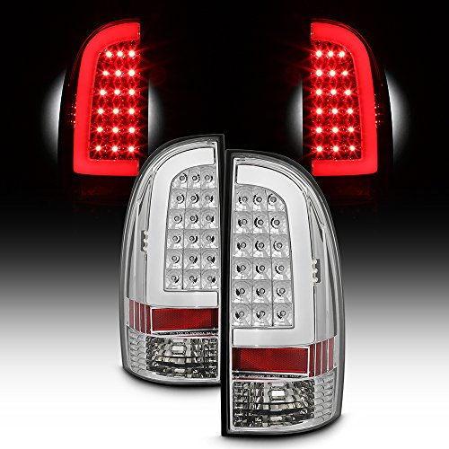 - For 2005-15 Toyota Tacoma Full LED Daytime Running Lamp Strip Tail Lights Chrome Housing Clear Lens Set
