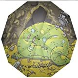 Sun umbrella, umbrella UV Protection Auto Open Close Dragon,Cute Creature Sleeping on A Pile of Gold and Scared Knight Peering over Kids Windproof - Waterproof - Men - Women -Lightweight- 45 inches