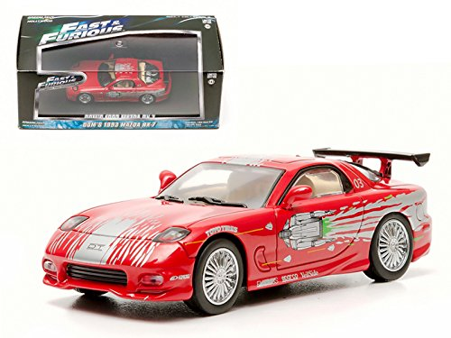 Greenlight Dom's 1993 Mazda RX-7 Red The Fast and The Furious Movie (2001) 1/43 Diecast Car Model by GL86204