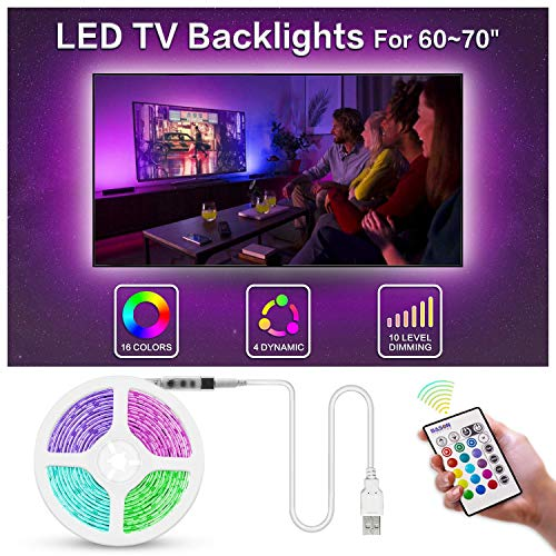 "Bason Led Strip Lights for 60-70"" HDTV/Wall Mount TV, USB TV Led Backlight with Remote Control, 13.09ft Led Strips TV Bias Lighting for Entertainment Center Room Decorations Home Movie Theater."