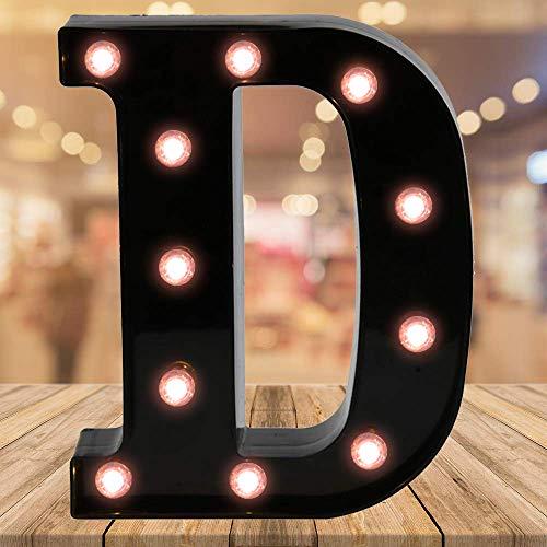 Oycbuzo Light up Letters LED Letter Black Alphabet Letter Night Lights for Home Bar Festival Birthday Party Wedding Decorative (Black Letter D)
